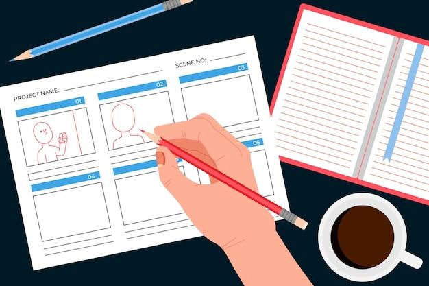 Assortiment d'éléments créatifs pour le concept de storyboard