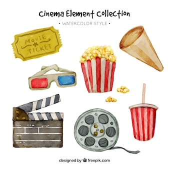 Assortiment d'éléments de film d'aquarelle