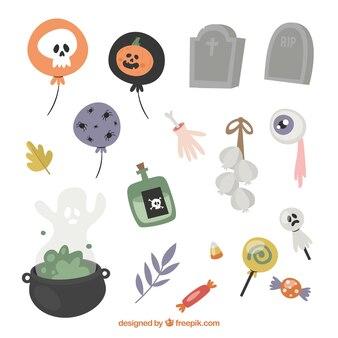 Assortiment d'éléments de halloween