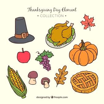 Assortiment d'éléments de thanksgiving dessinés à la main