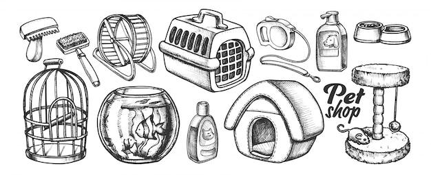 Assortiment d'équipement d'animalerie monochrome