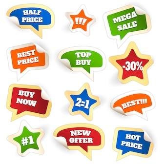 Assortiment d'étiquettes de vente discount colorées dans des bulles de mots