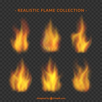 Assortiment de flammes dans la conception réaliste