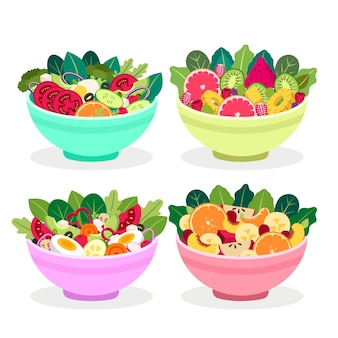 Assortiment de fruits et saladiers