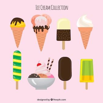 Assortiment de huit desserts d'été en conception plate