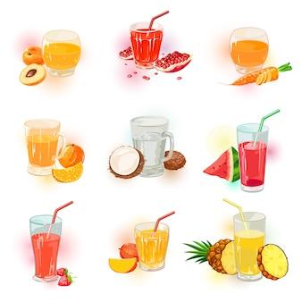 Assortiment de jus, icônes de boissons