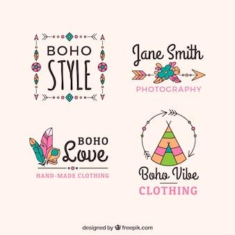 Assortiment de logos boho avec de grands dessins
