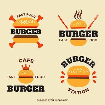 Assortiment de logos de burger plats