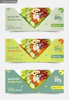 Assortiment de modèles de couverture de médias sociaux de fruits et légumes biologiques frais