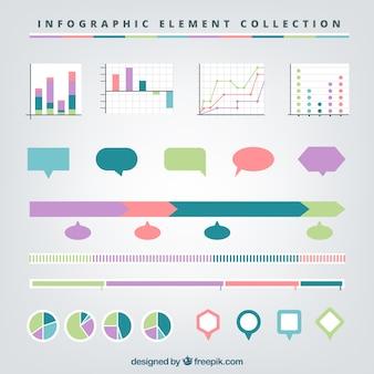 Assortiment plat d'éléments infographiques utiles