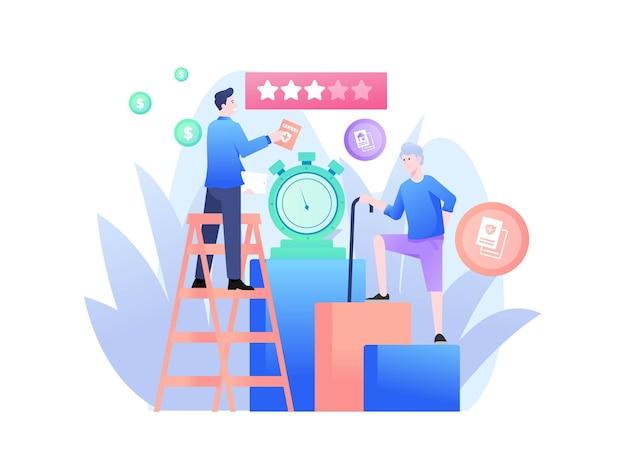 Assurance, agent d'assurance promotion de l'illustration de leur compagnie