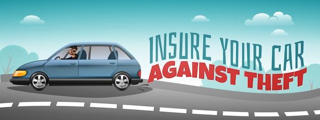 Assurance automobile couvrant le vol d'une affiche horizontale colorée avec une voiture qui accélère sur la route et un texte d'avertissement