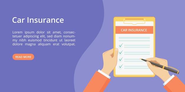 Assurance automobile sur presse-papiers avec les mains