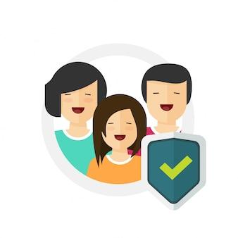 Assurance familiale ou soins de la vie protection sécurisée garde bouclier icône plate signe