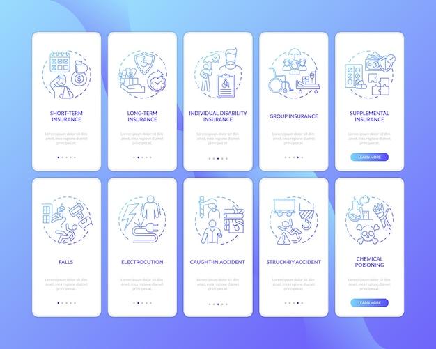 Assurance invalidité sur l'écran de la page de l'application mobile d'embarquement avec ensemble de concepts.