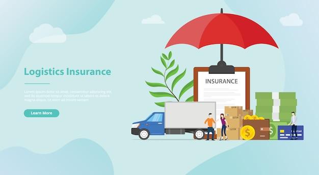 Assurance logistique pour le modèle de site web ou la page d'accueil de destination
