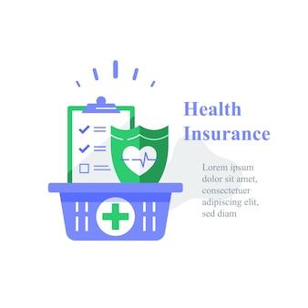 Assurance maladie, programme médical, presse-papiers de la liste de contrôle et bouclier, bilan de santé annuel