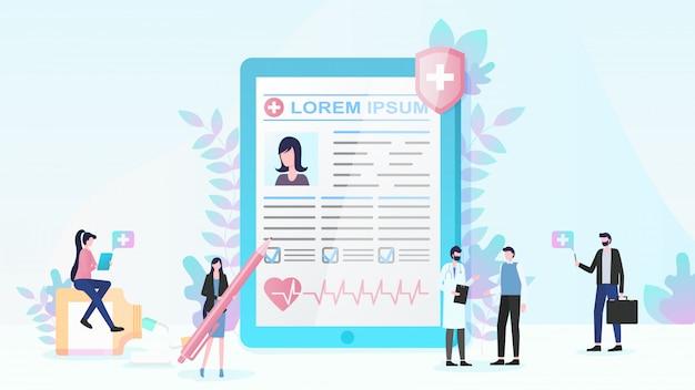 Assurance maladie et services médicaux vector plate