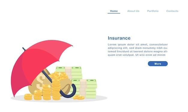 Assurance de la page d'atterrissage pour le concept de richesse immobilière parapluie protégeant l'argent pièce d'or et bill