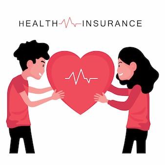 Assurance santé fonction homme et femme tenant coeur