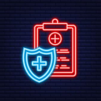 Assurance santé. protection médicale, concepts d'assurance médicale. conception plate. style néon. illustration vectorielle de stock.