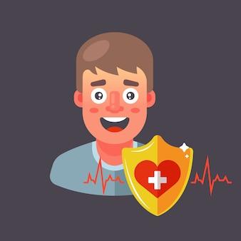 Assurer la santé humaine. protection cardiaque. illustration de caractère.