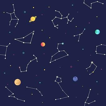 Astrologie du zodiaque et modèle sans couture de la planète sur la galaxie.