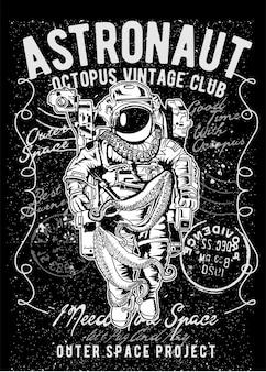 Astronaus octopus, affiche d'illustration vintage.