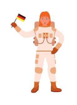 Astronaute allemand tenant le drapeau à la main sur blanc