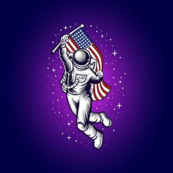 L'astronaute apporte l'illustration du drapeau américain
