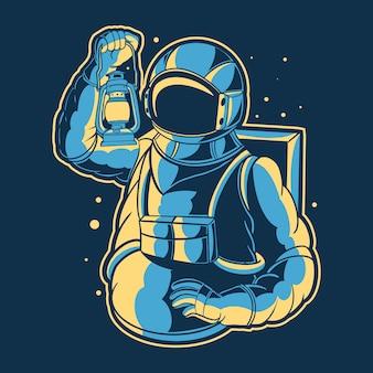 L'astronaute apporte une illustration de la lampe