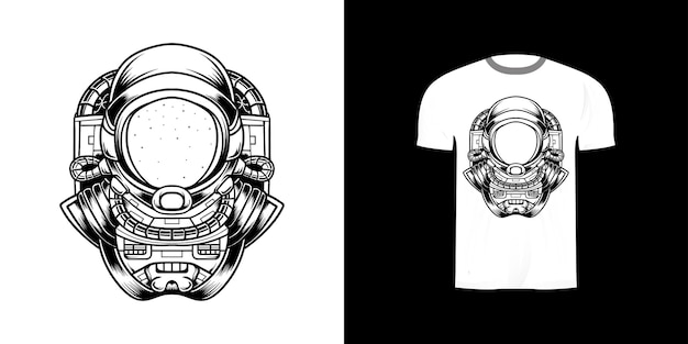 Astronaute d'art en ligne pour la conception de tshirt