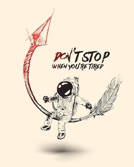 Astronaute assis sur la flèche fond de vecteur dessiné à la main