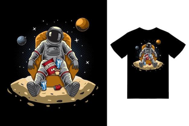 Astronaute assis sur l'illustration de la lune avec vecteur premium de conception de tshirt