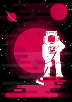 Astronaute balayer la galaxie