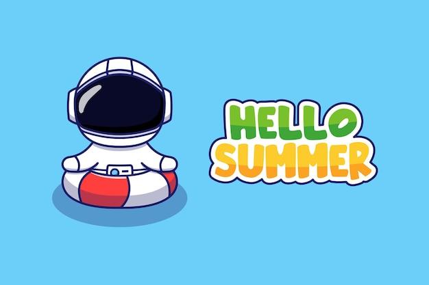 Astronaute avec bannière de voeux d'été bonjour