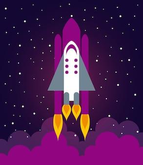 Astronaute, bateau, illustration, plat