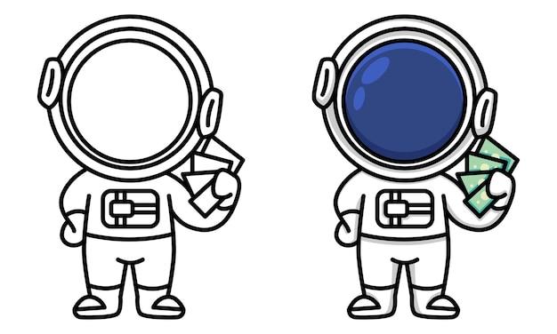 Astronaute avec des billets d'argent à colorier pour les enfants