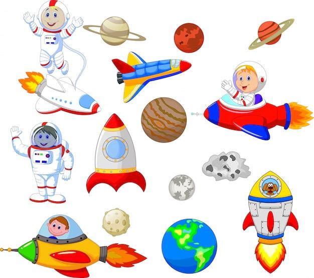 Astronaute cartoon avec jeu de collection de vaisseau spatial