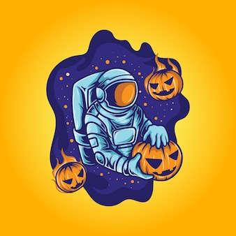 L'astronaute célèbre halloween avec une illustration de citrouille