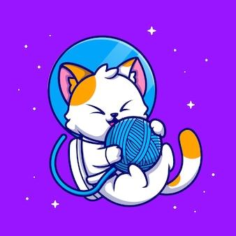 Astronaute chat mignon jouant illustration icône de dessin animé boule de fil
