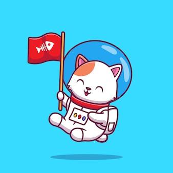 Astronaute de chat mignon tenant illustration d'icône de dessin animé de drapeau. concept d'icône de science animale isolé premium. plat