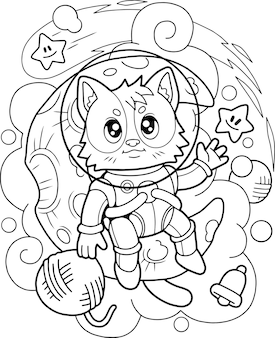 Astronaute chat mignon