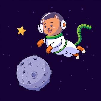 Astronaute chat volant dans l'espace