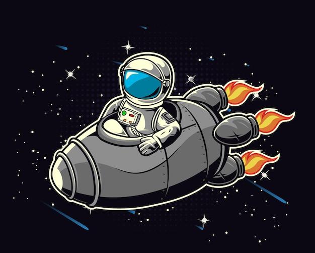 Astronaute chevauchant une fusée