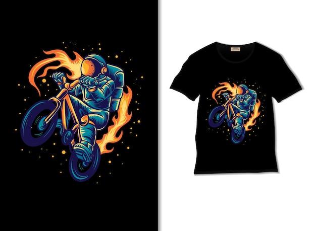 Astronaute chevauchant une illustration de bmx avec un design de t-shirt