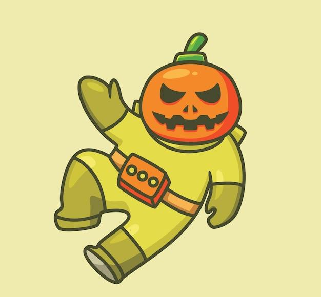 Astronaute citrouille mignon. illustration d'halloween animal de dessin animé isolé. style plat adapté au vecteur de logo premium sticker icon design. personnage mascotte