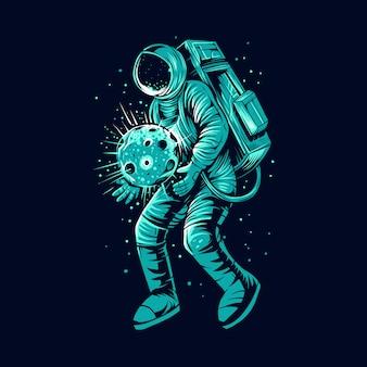 Astronaute avec conception illustration planète