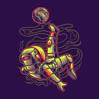 Astronaute de conception de t-shirt donnant un coup de pied à l'illustration de football de lune