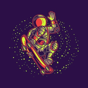 Astronaute de conception de t-shirt avec illustration de skateboard fond galaxie